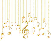 Card with musical notes and golden treble clef on a white background Vector illustration