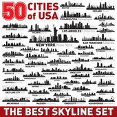 Super city skyline set 50 vector city silhouettes of USA
