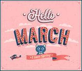 Ciao marzo tipografiche design. illustrazione vettoriale