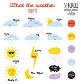 Neobvyklé bezešvé dětinské vzorek s kreslenými a ikony počasí legrační smajlíky