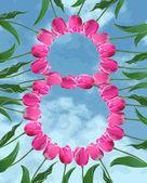 Blahopřání ke dni dámské s tulipány a obloha