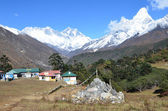 Nepal, the Himalayas, village Tyangboche, views of the peaks of Mount Everest, Lhotse, Ama Dablam