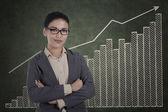 Magabiztos üzletasszony, növekedés grafikonon