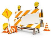 Sotto la barriera di costruzione. foglio bianco. coni di traffico. cartello stradale. casco per ledilizia. isolato su sfondo bianco. rendering 3D