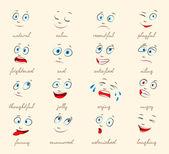 Emotions Cartoon facial expressions set ( natural calm resentful playful frightened sad satisfied ailing thoughtful jolly crying angry funny enamored astonished laughing ) vector