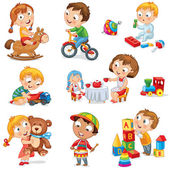 Children play with toys Little girl riding a wooden horse hugging a teddy bear plays with a doll boy sitting on a tricycle playing with a toy car bangs the drum builds a house from cubes Set