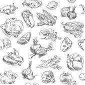 Kreslení od ruky zeleniny. bezešvé vzor