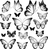 Set of butterflies silhouettes isolated on white background in vector format very easy to edit individual objects