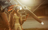 Vintage repülőgép pilóta