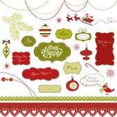 Sada vánoční album prvky, historických snímků, stuhy, ozdoby