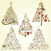 Christmas tree collection Vintage retro cute calligraphic - all type of hand drawn trees