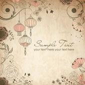 Chinese lanterns Stylish floral background