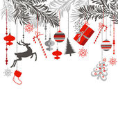 Christmas background in grey red white and black colours Christmas tree branches and ornaments hanging down elegantly