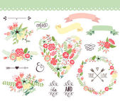 Wedding graphic set wreath flowers arrows hearts laurel ribbons and labels