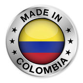 Made in Colombia silver badge and icon with central glossy Colombian flag symbol and stars Vector EPS10 illustration isolated on white background
