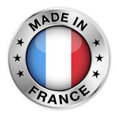 Made in France silver badge and icon with central glossy French flag symbol and stars Vector EPS10 illustration isolated on white background