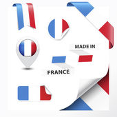 Made in France collection of ribbon label stickers pointer badge icon and page curl with French flag symbol Vector EPS10 illustration isolated on white background