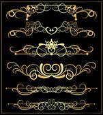 Vektorové sada. viktoriánské svitky a korunu. Zlatá dekorativní prvky