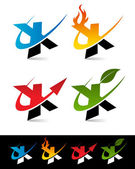 Vector set of colorful swoosh X icons