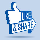 Like and share thumbs up social networking symbol