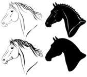 Vector illustration of horse head clip art set
