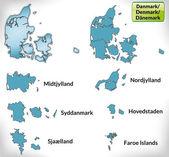 Mapa Dánska s hranicemi v modrém