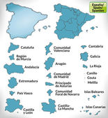 Map of Spain with borders in blue
