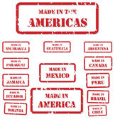 Set of red rubber stamps of Made In symbols for North Central and South America
