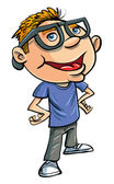 Stereotypical cartoon nerd with geeky glasses and a brash know it all attitude an obsessive brainy social misfit