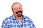 Radostné vousatých kavkazské člověk smát nahlas