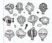 Doodle hot air balloon icon