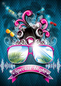 Vector Summer Beach Party Flyer Design with speakers and sunglasses on blue background Eps10 illustration