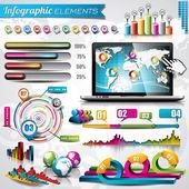 Sada návrhů vektorový infographic prvků. Světová mapa a informační grafika