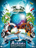 Vector Summer Beach Party Flyer Design with disco ball and shipping elements on tropical background Eps10 illustration