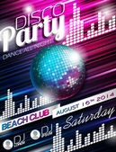 Vector Disco Party Flyer Design with disco ball on shiny background Eps10 illustration