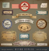 Useful design elements old papers labels in retro and vintage style