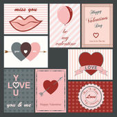 Set of eight vintage valentine cards