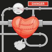 Illustrazione di un cuore overload con tubi e manumeter