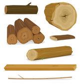 Dřevo sada protokolů, kufry a prkna
