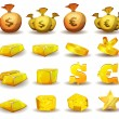 Постер, плакат: Gold Credit Money Coins Set For Game Interface