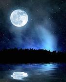 Nachthimmel mit Sternen und Mond