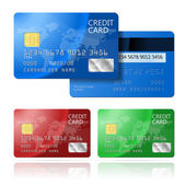 Realistic vector Credit Card two sides blue green red EPS10 opacity