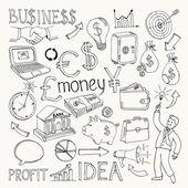 Business doodles hand doodle vector illustration on white