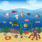 Underwater ocean life under the waves