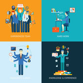 Flat design concept icons for teamwork and human resources knowledge and experience