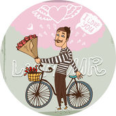 Starry eyed amorous Frenchman on a bicycle with a bouquet red roses serenading his sweetheart as he declares his love for her on Valentines  hand-drawn vector illustration
