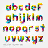 Polygon alphabet colorful font style Vector illustration