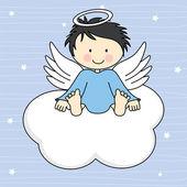 Angel wings on a cloud Greeting card