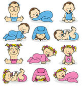 Vektorové ilustrace novorozených chlapců a dívek baby