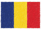 Hand drawn illustration of flag of Romania
